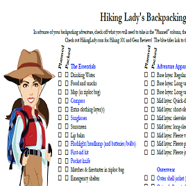 Hiking Lady's Checklist