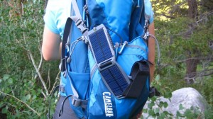 The Powermonkey Solar Slave strapped to my daypack