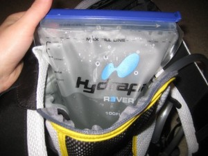 Putting the Hydrapak Reservoir inside the Morro backpack