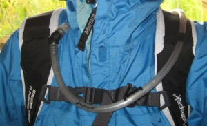 Wearing the Hydrapak Morro - I put the magnetic clip on the sterum strap