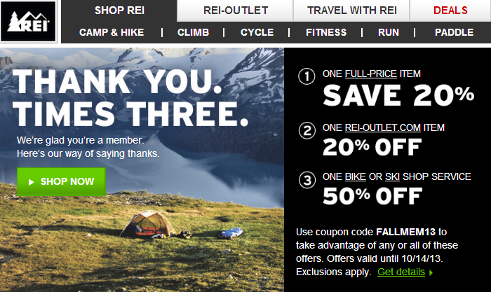 All of the latest REI coupons and discounts are listed on the REI Coupons page for your convenience. Sign up to receive emails from REI to be the first to know about new products and discount opportunities at mediabroadqc.cf REI Shipping Policy. Most items for sale at mediabroadqc.cf are available for free in-store pickup.