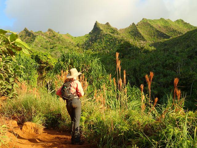 Hiking Lady on Kalalau Trail