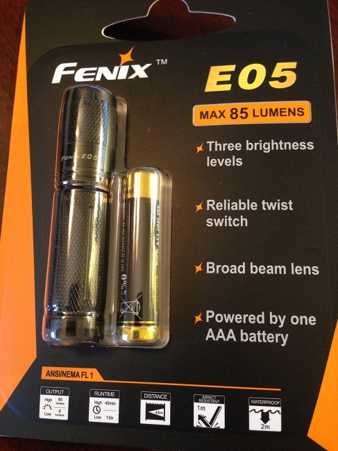 Fenix 05 flashlight (comes with AAA battery)