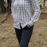 Hiking Lady wearing the Mountain Khakis Women's Mystic Shirt