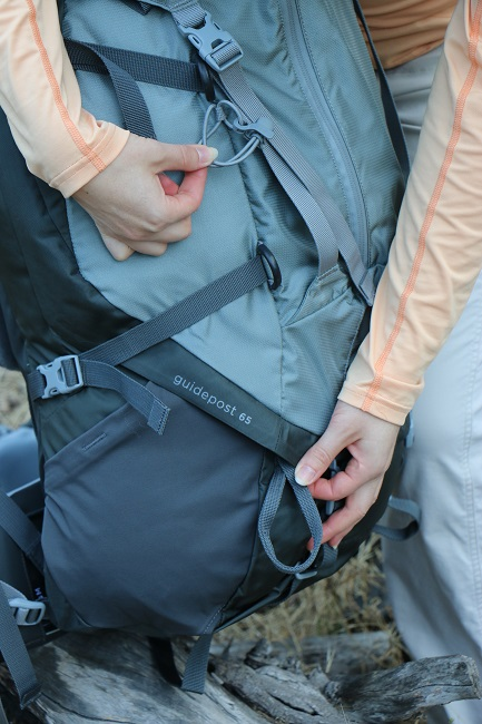 Loops for trekking pole or ice ax attachment