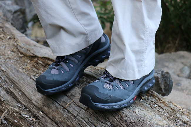 Hiking Lady trail testing the Salomon Quest 4D Women's Hiking Boots