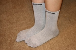 Wearing the new Injinji Toe Sock liners