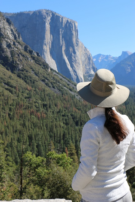 Hiking Lady wearing the Royal Robbins Rosa Jacket in Yosemite