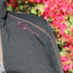 Detailed stitching on the Kora Yak Wool Shola 230 women's zip top